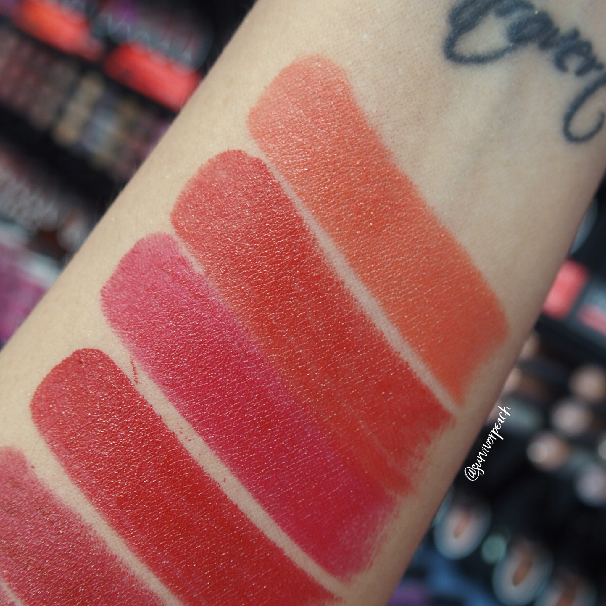 Sephora Collection Rouge Satin Lipstick swatches - S09 Playin' Around, S10 What's Up?, S11 Night Call, S12 On My Way