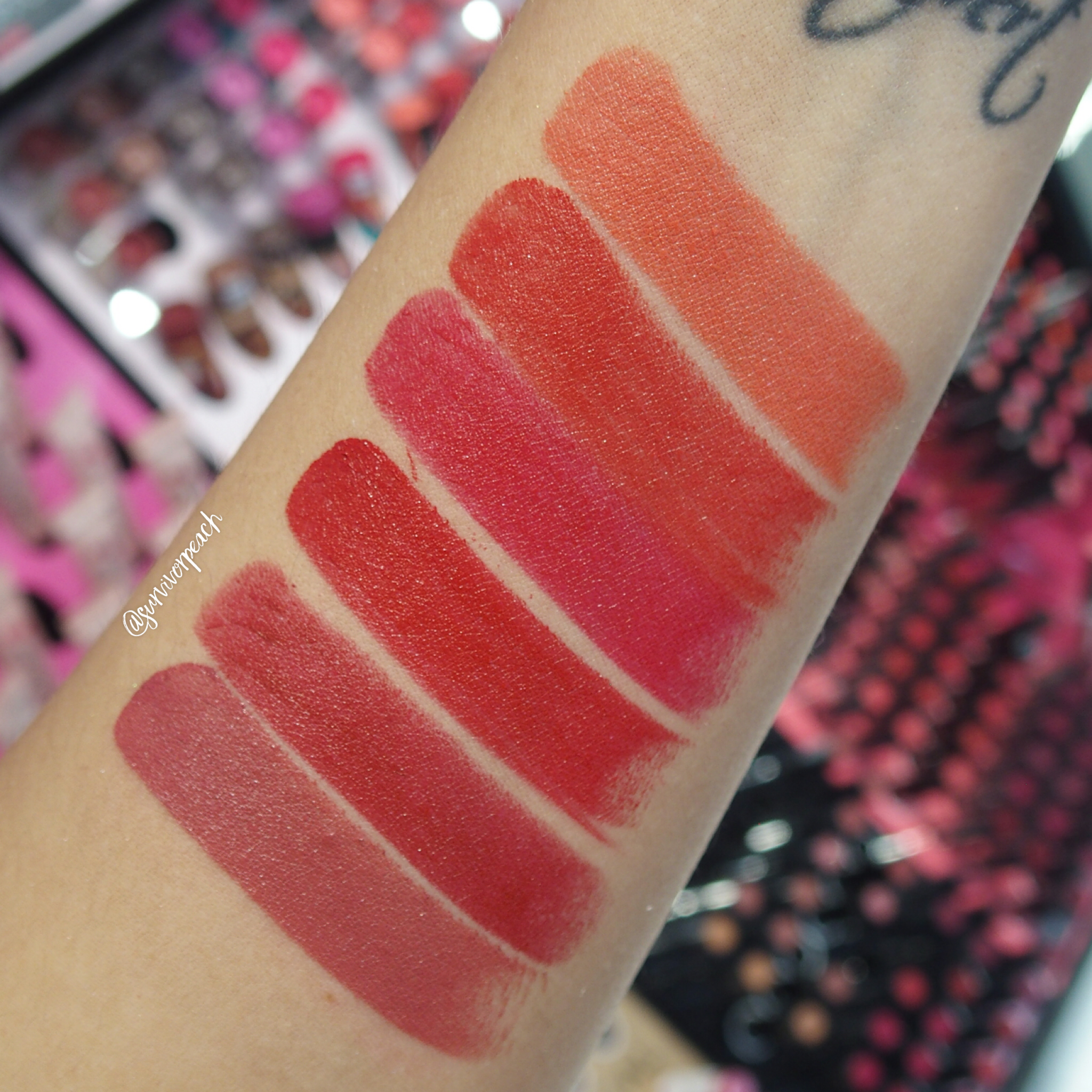 Sephora Collection Rouge Satin Lipstick swatches - S09 Playin' Around, S10 What's Up?, S11 Night Call, S12 On My Way, S13 Feeling Free, S18 Oh Oh!
