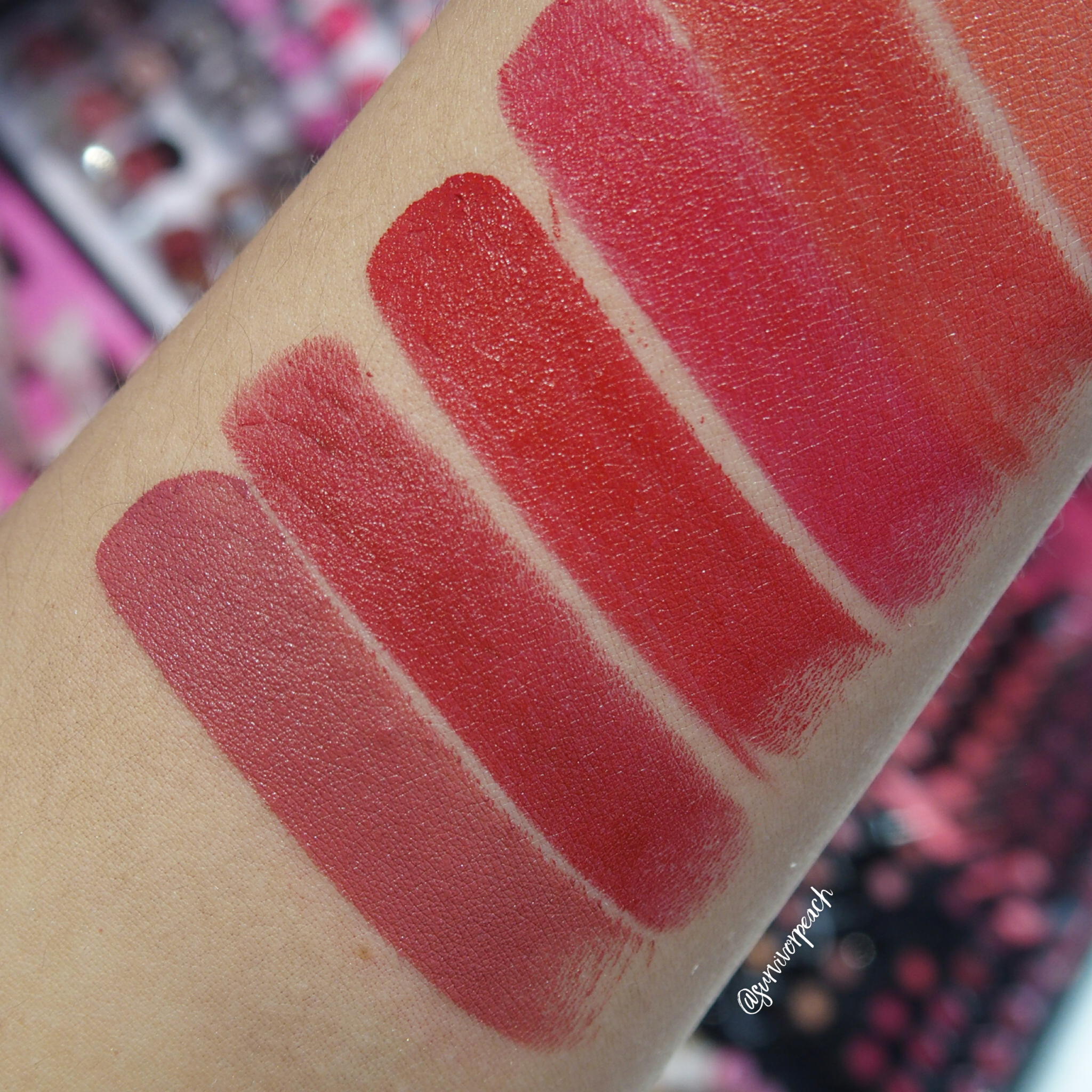 Sephora Collection Rouge Satin Lipstick swatches - S10 What's Up?, S11 Night Call, S12 On My Way, S13 Feeling Free, S18 Oh Oh!