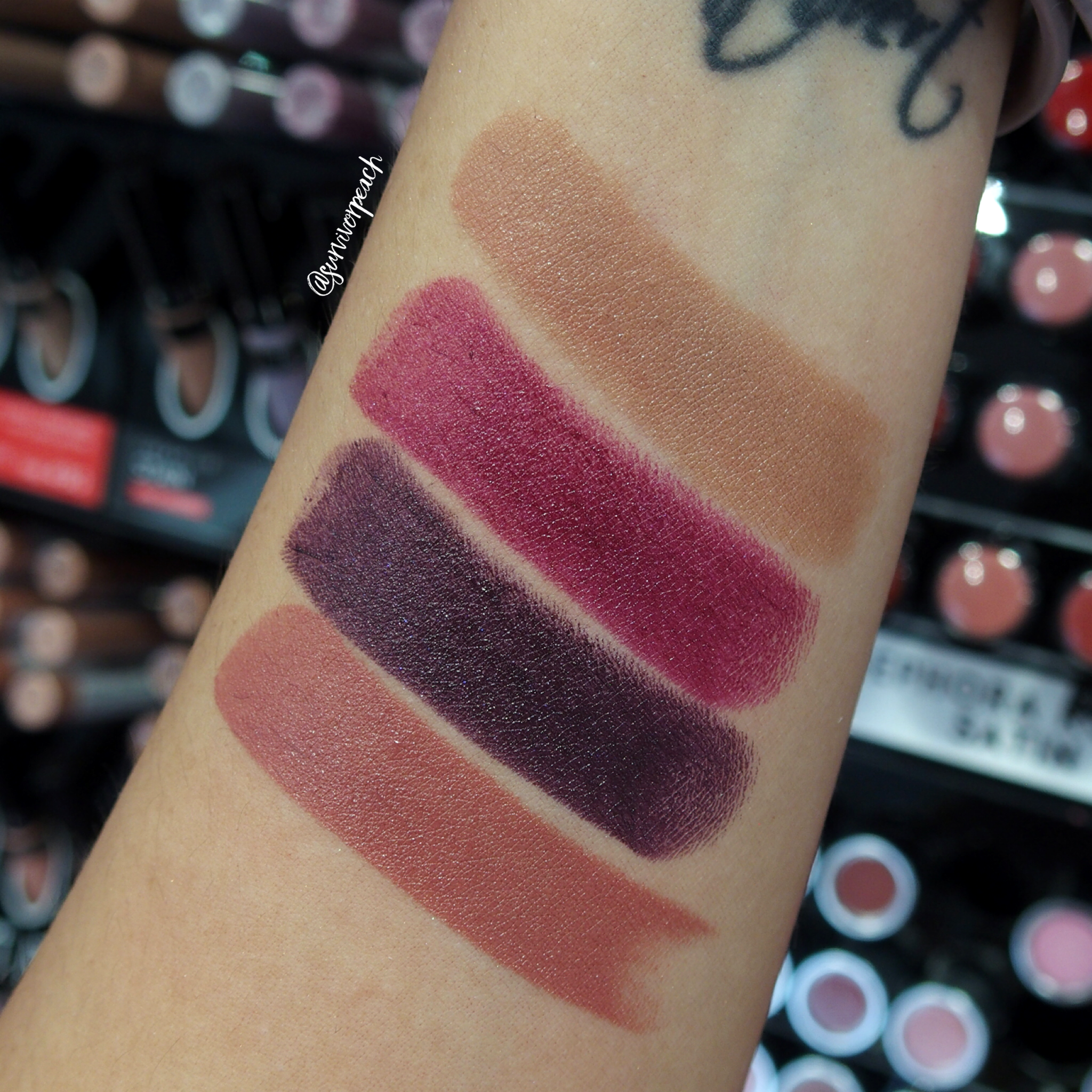 Sephora Collection Rouge Satin Lipstick swatches - S21 Ingenuous, S23 Crush, S24 Bewitch Me, 61 Lucky One