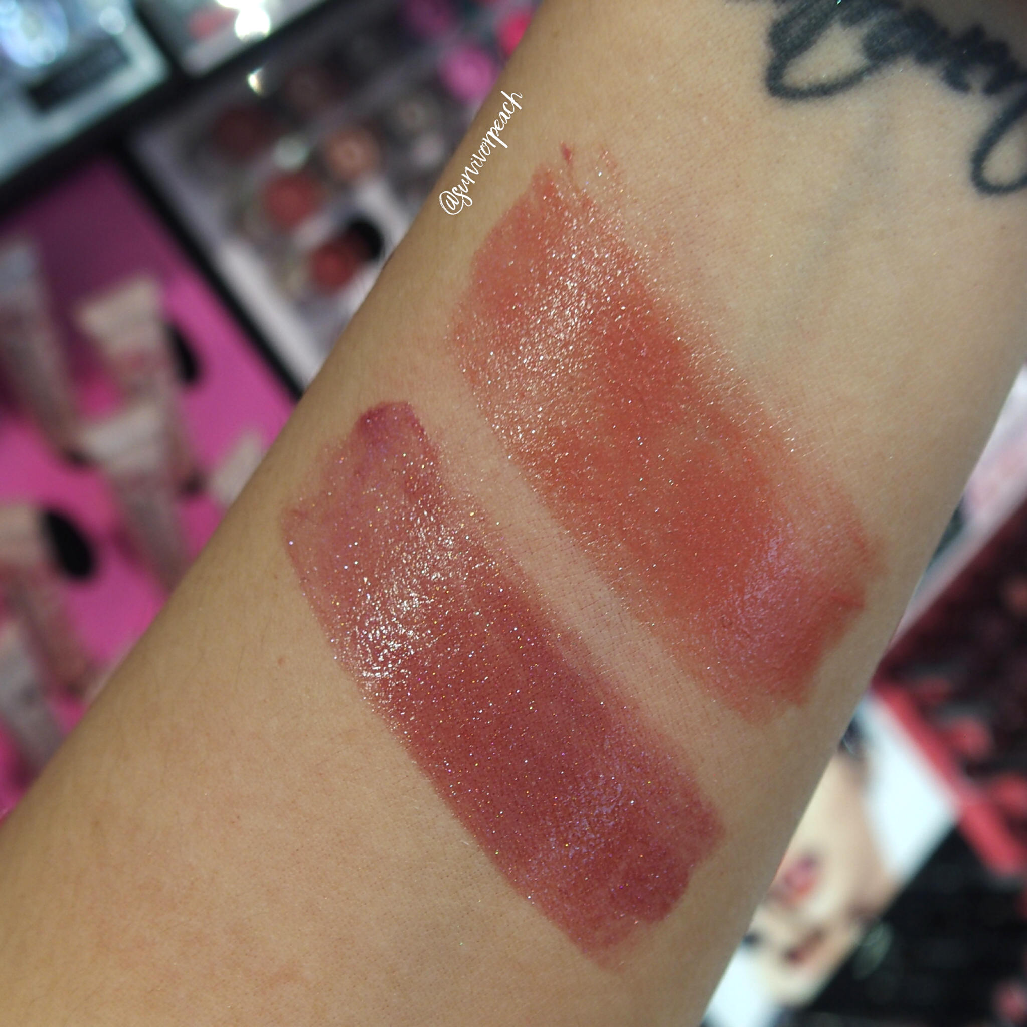 Sephora Collection Rouge Shine swatches: SH12 Guest List, SH42 Walk of Shame