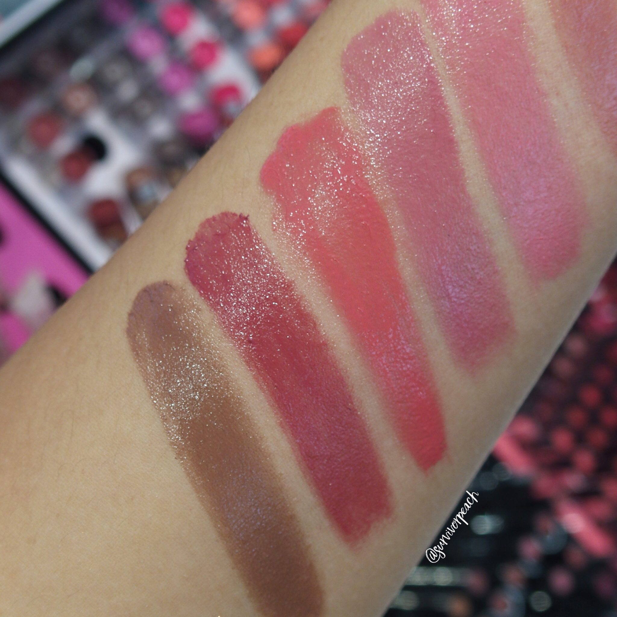 Sephora Collection Lipstick Rouge Lacquer Lipstick swatches- L17 Rise Above, L18 Slay, L19 Stronger, L20 Squad Goals