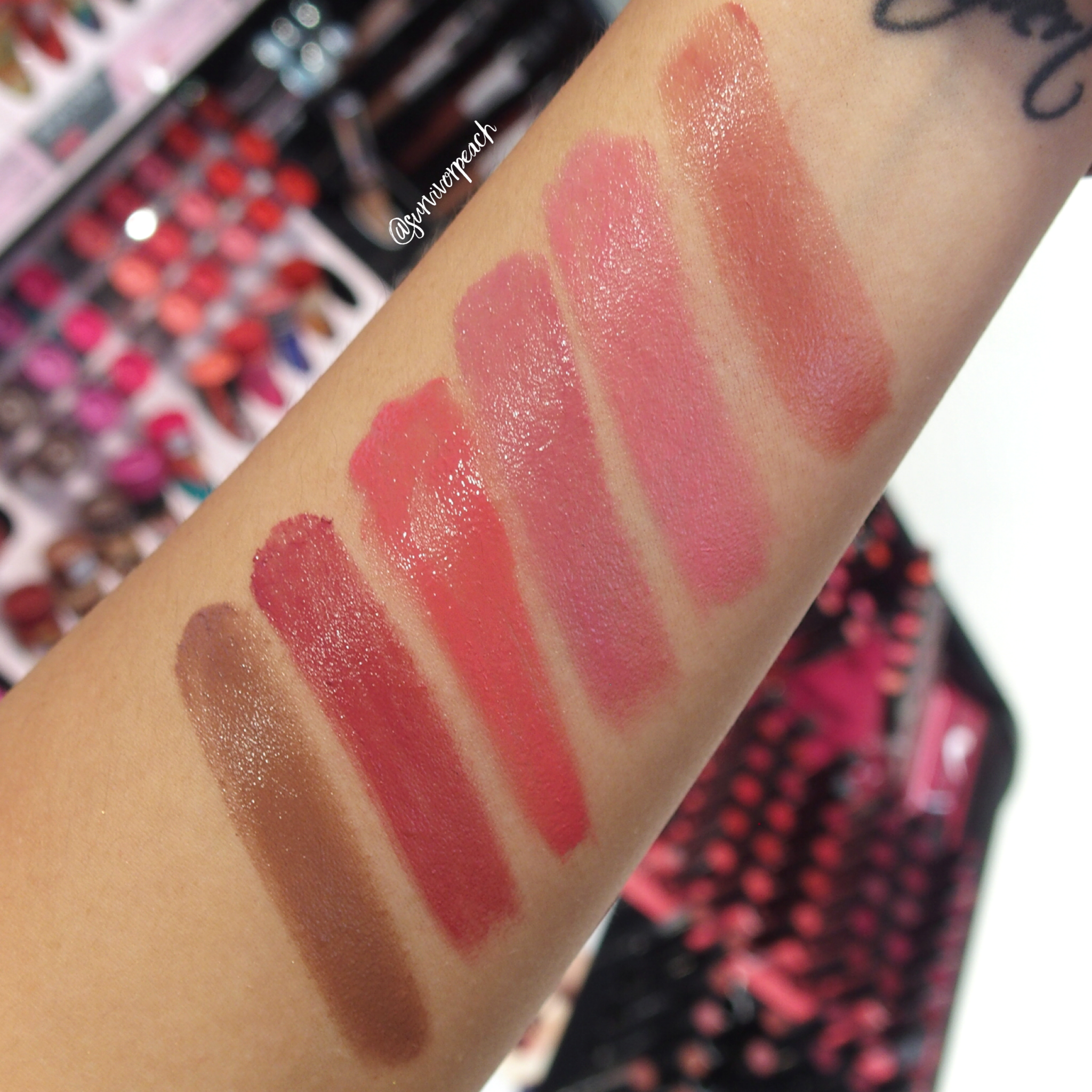 Sephora Collection Lipstick Rouge Lacquer Lipstick swatches - L15 Not Your Baby , L16 Girl Crush, L17 Rise Above, L18 Slay, L19 Stronger, L20 Squad Goals