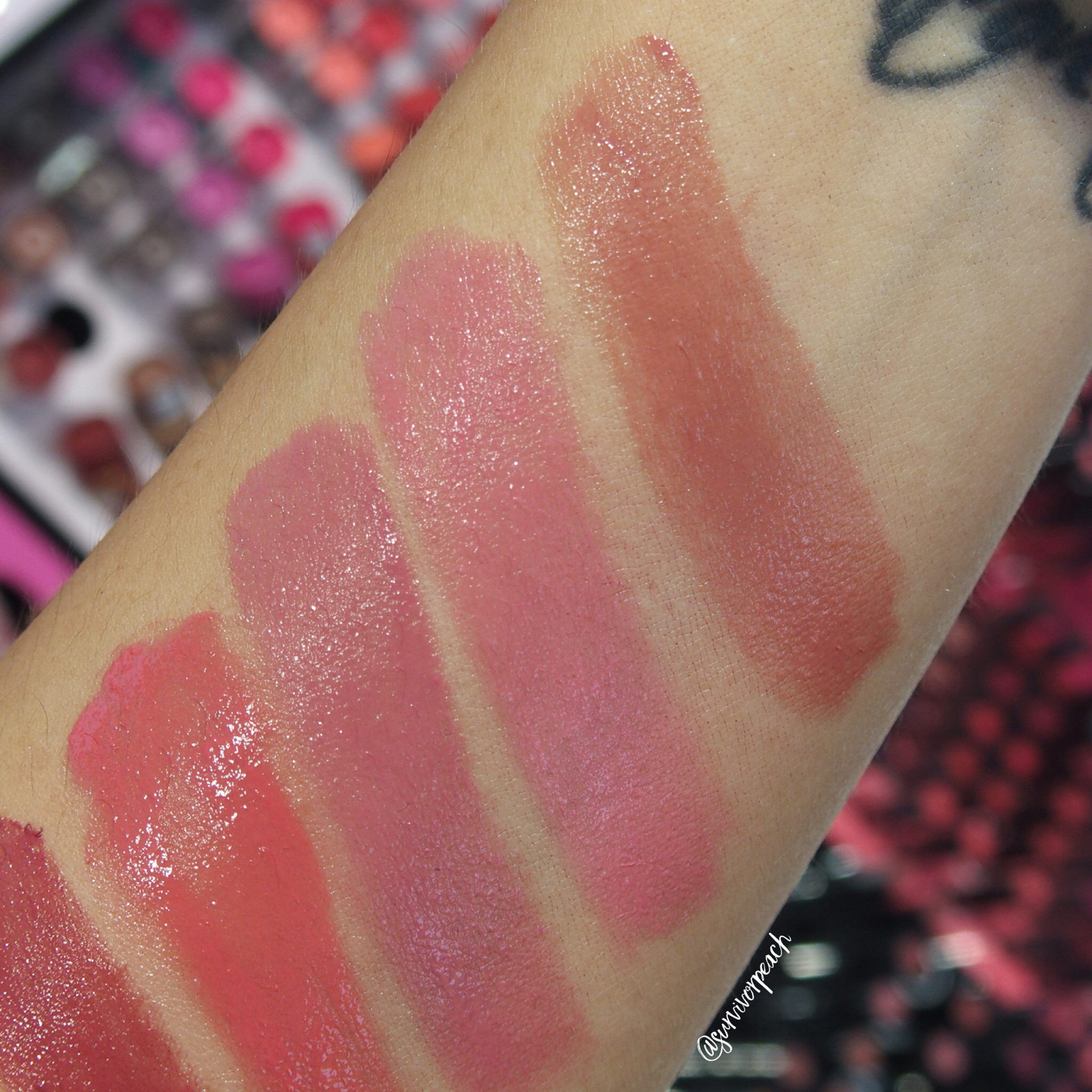 Sephora Collection Lipstick Rouge Lacquer Lipstick swatches - L15 Not Your Baby , L16 Girl Crush, L17 Rise Above
