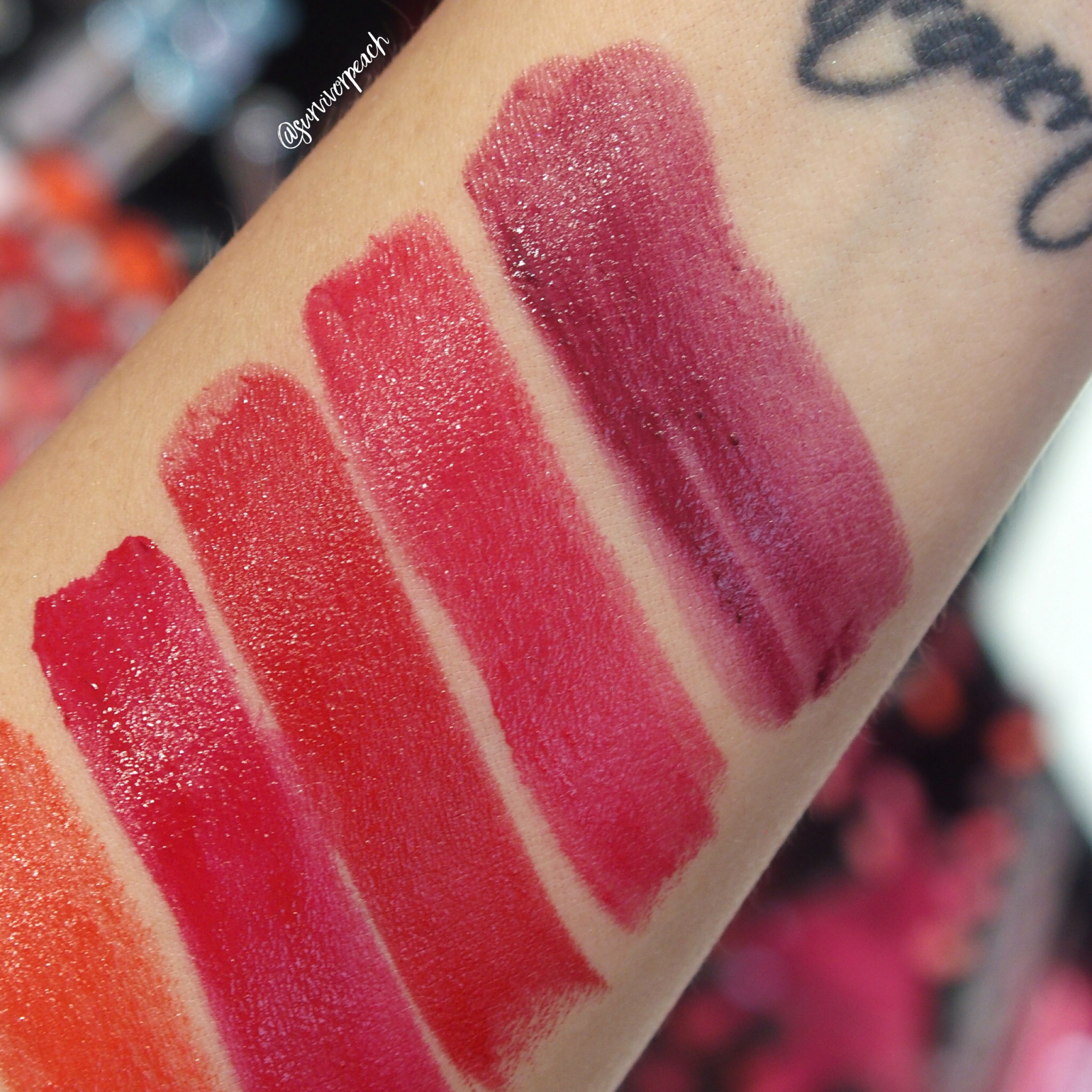 Sephora Collection Lipstick Rouge Lacquer Lipstick swatches - L08 Hear Me Roar, L09 Love Wins, L10 Survivor