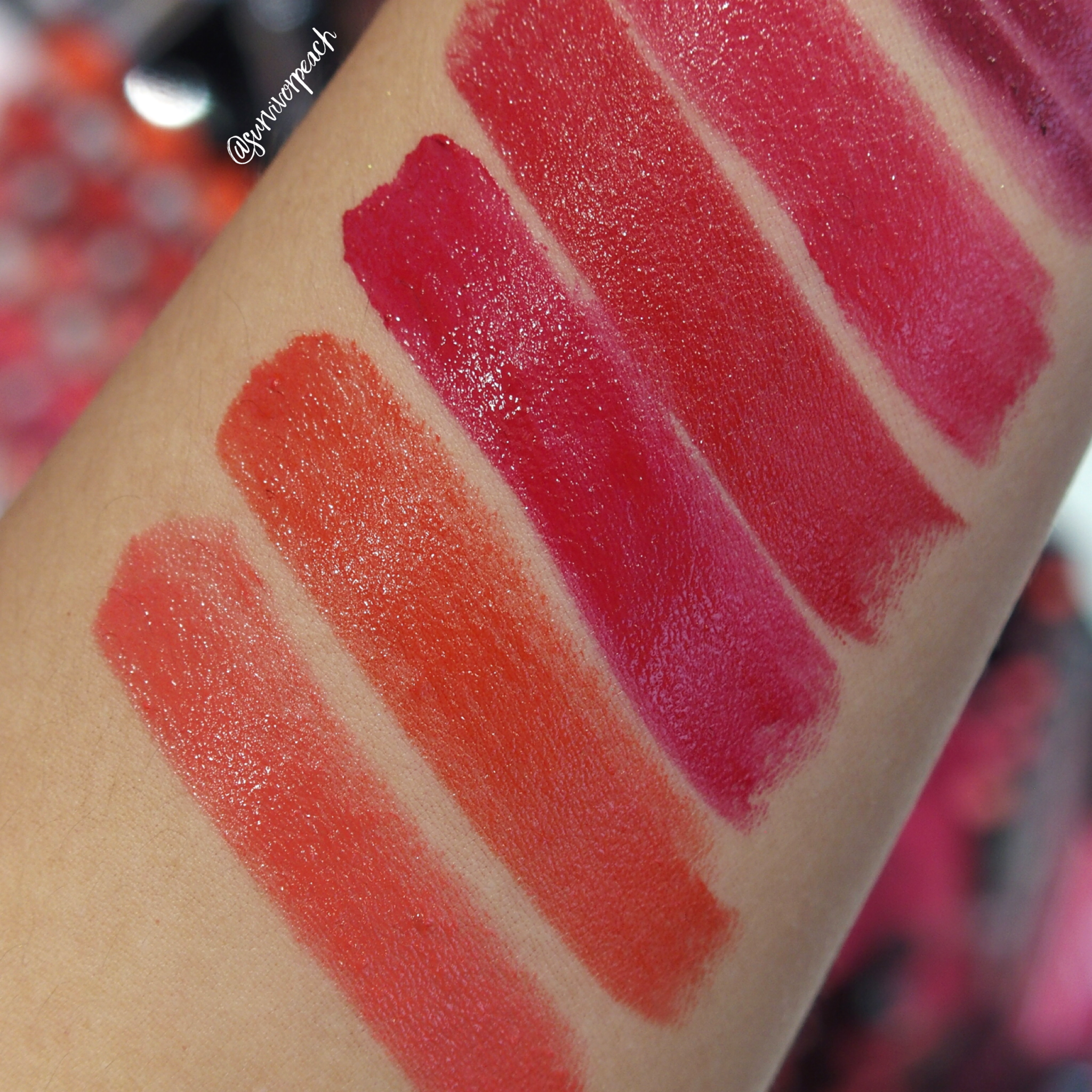 Sephora Collection Lipstick Rouge Lacquer Lipstick swatches - L10 Survivor, L11 Love Letter, L12 Be The Boss, L13 CEO