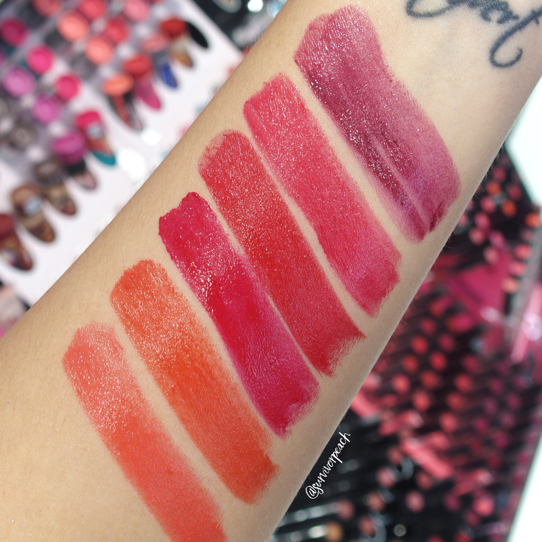 Sephora Collection Lipstick Rouge Lacquer Lipstick swatches - L08 Hear Me Roar, L09 Love Wins, L10 Survivor, L11 Love Letter, L12 Be The Boss, L13 CEO
