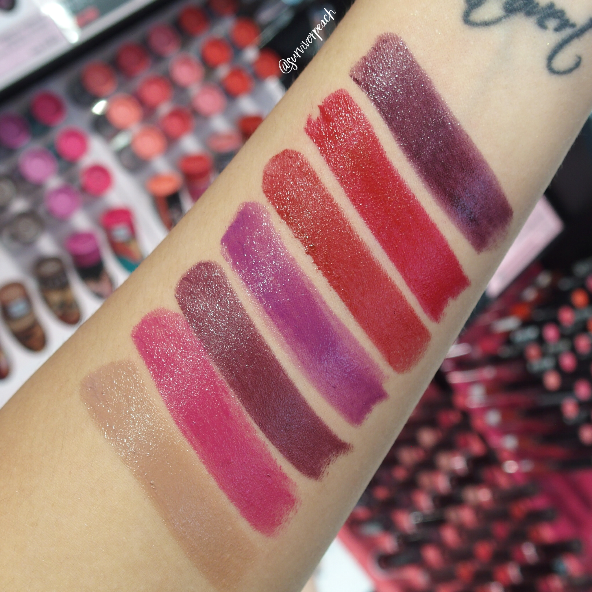 Sephora Collection Lipstick Rouge Lacquer Lipstick swatches- L01 Power Suit, L02 Wicked Smart, L04 Empowered, L05 What's My Secret?, L06 Who Runs the World?, L07 Elegance, L21 No Regrets