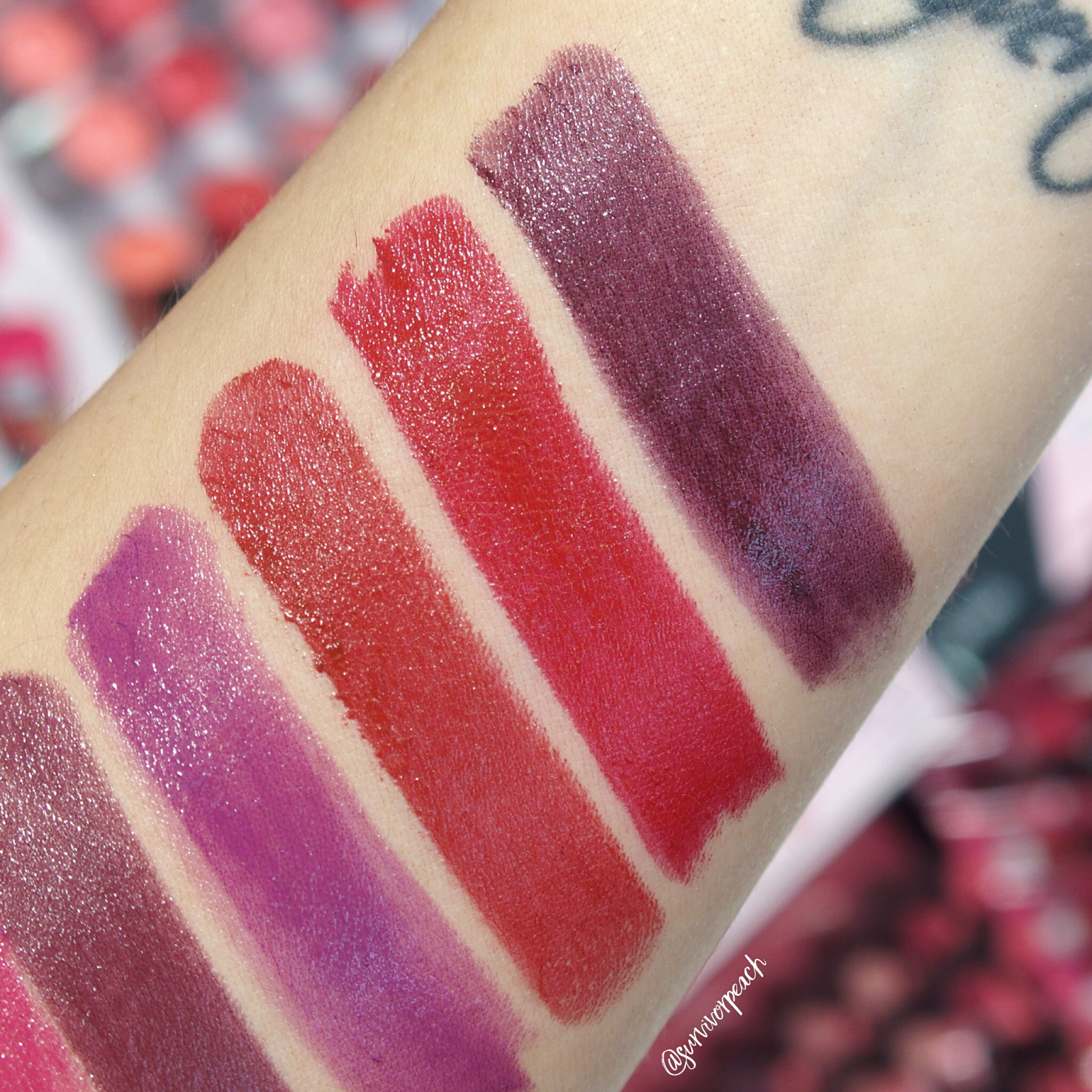 Sephora Collection Lipstick Rouge Lacquer Lipstick swatches- L01 Power Suit, L02 Wicked Smart, L04 Empowered, L05 What's My Secret?