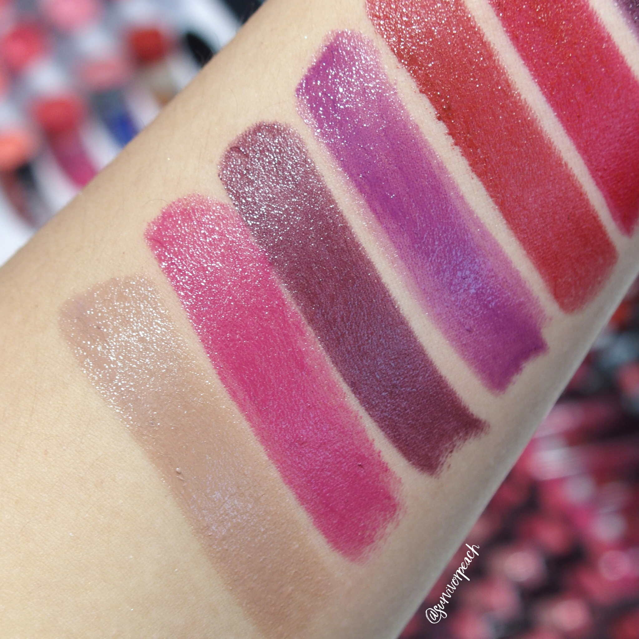 Sephora Collection Lipstick Rouge Lacquer Lipstick swatches- L04 Empowered, L05 What's My Secret?, L06 Who Runs the World?, L07 Elegance, L21 No Regrets