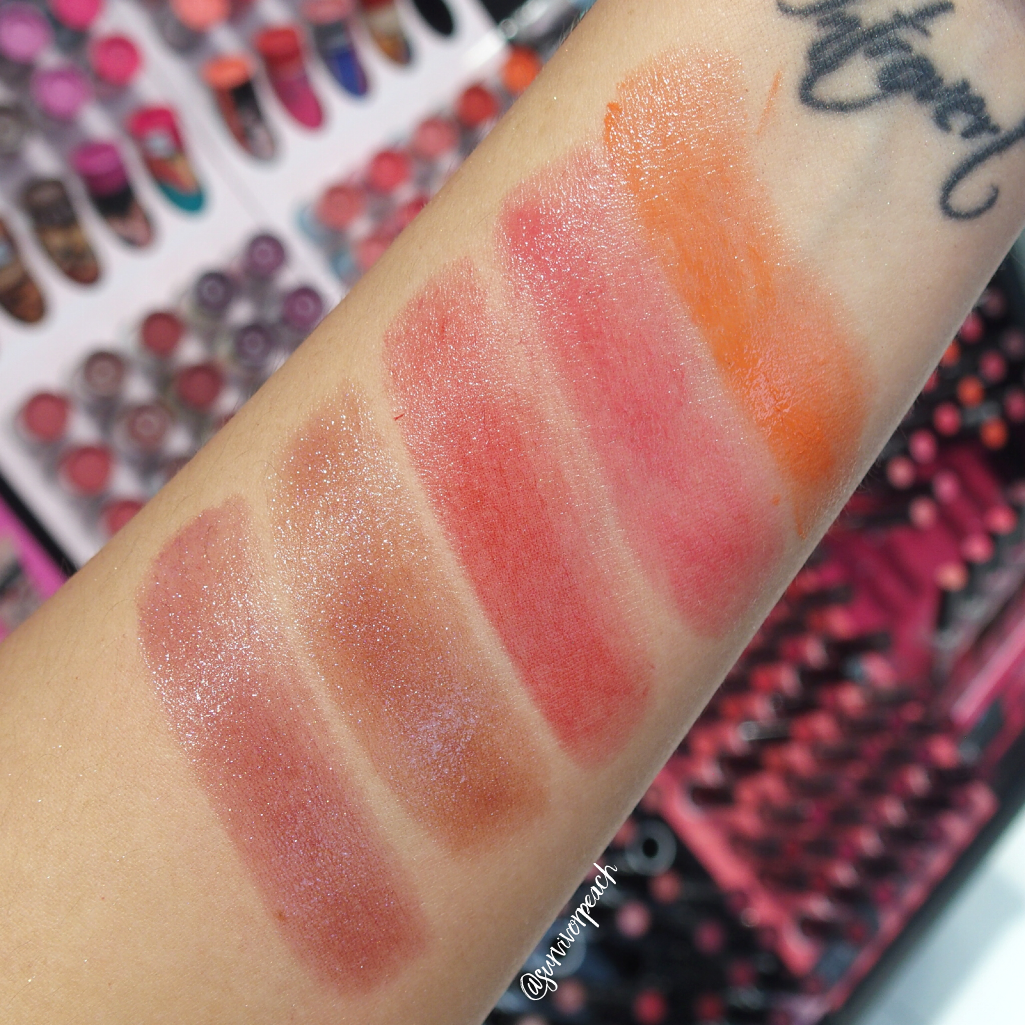 Swatches of the Sephora Collection Rouge Shine: N29, N30, N34, N036, N42