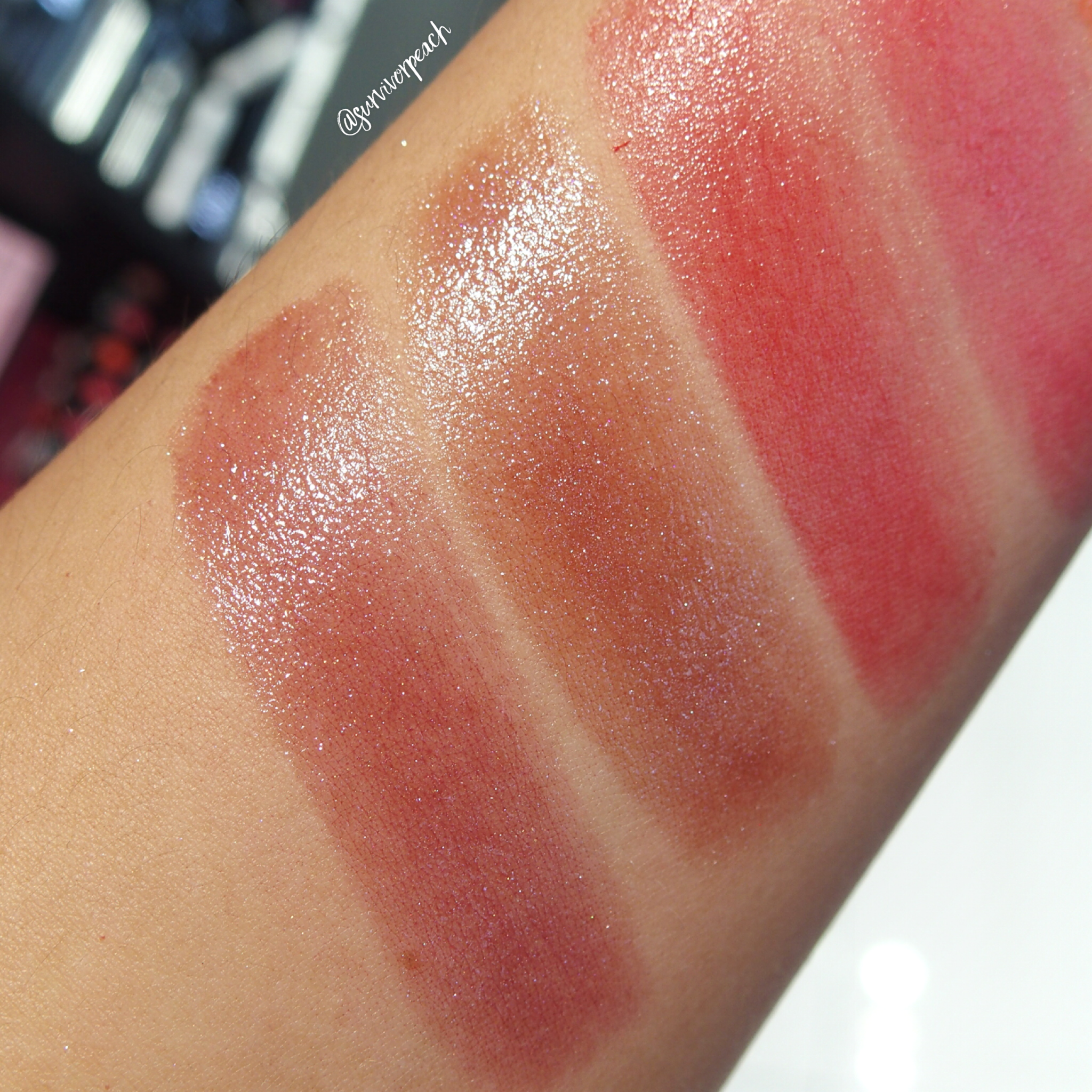 Swatches of the Sephora Collection Rouge Shine: N34, N036, N42