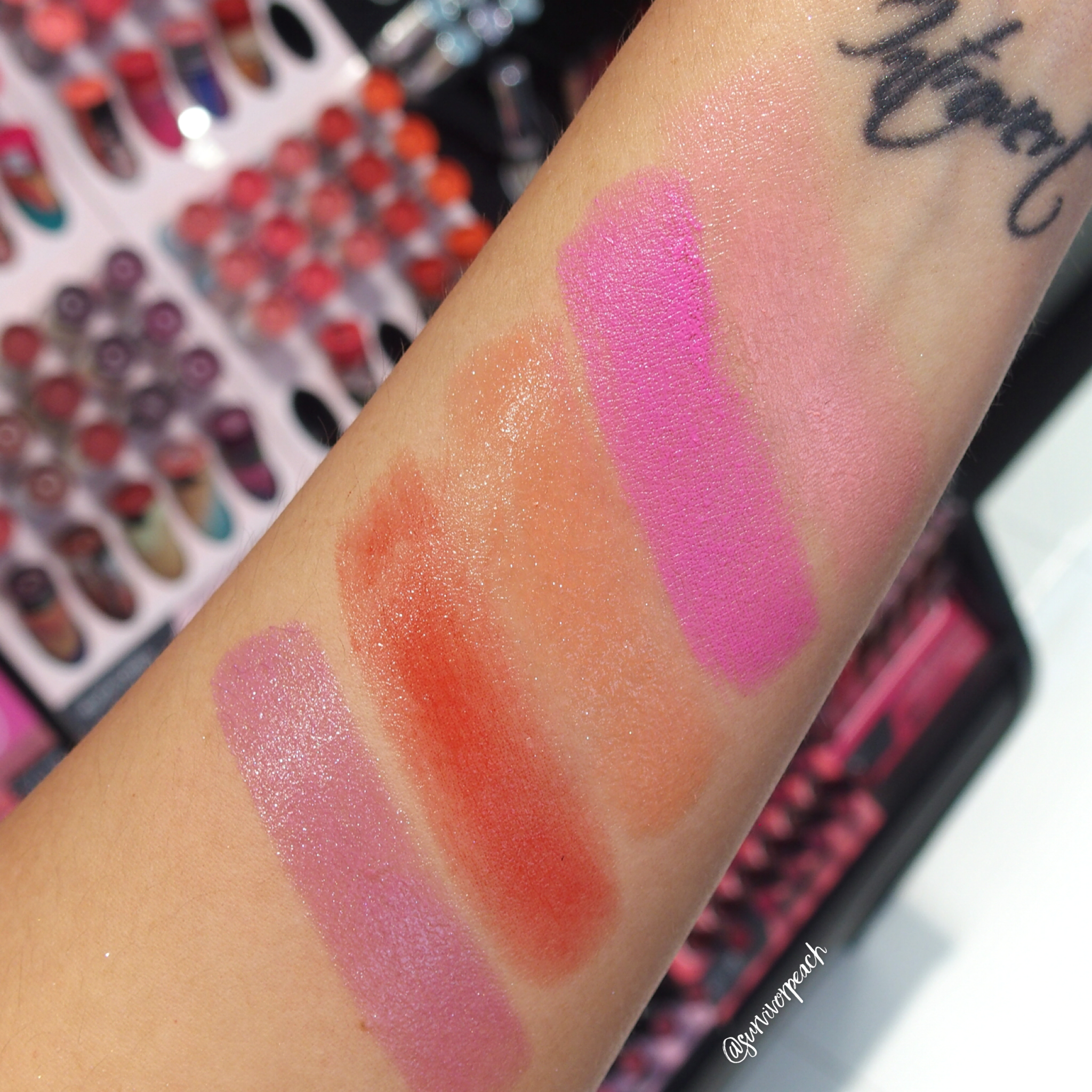 Swatches of the Sephora Collection Rouge Shine: N50, N56, N58, N62, N63