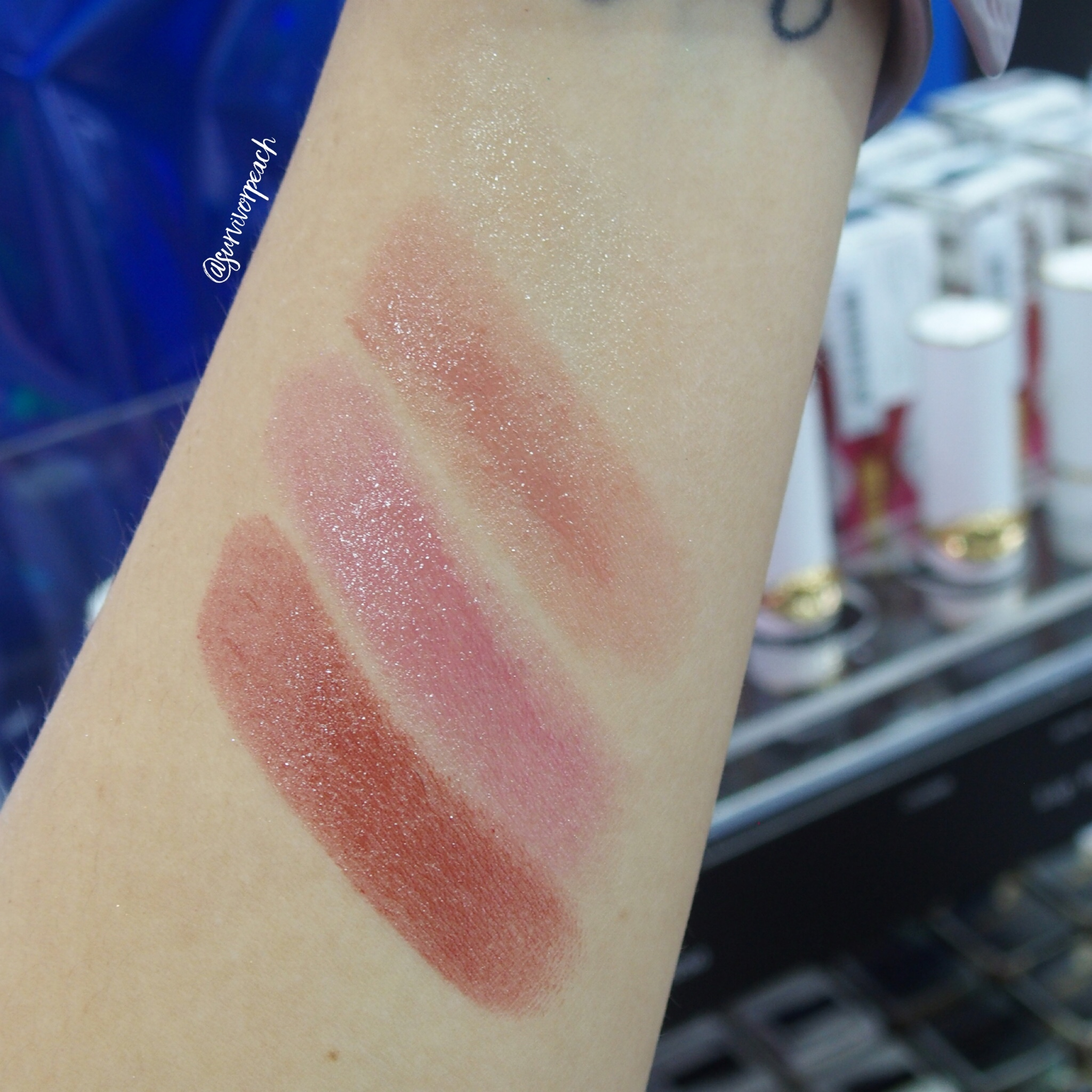 Swatches of the Pat McGrath Lip Fetish Lip Balm: Clear, Blowup, Love Supreme, Flesh 3