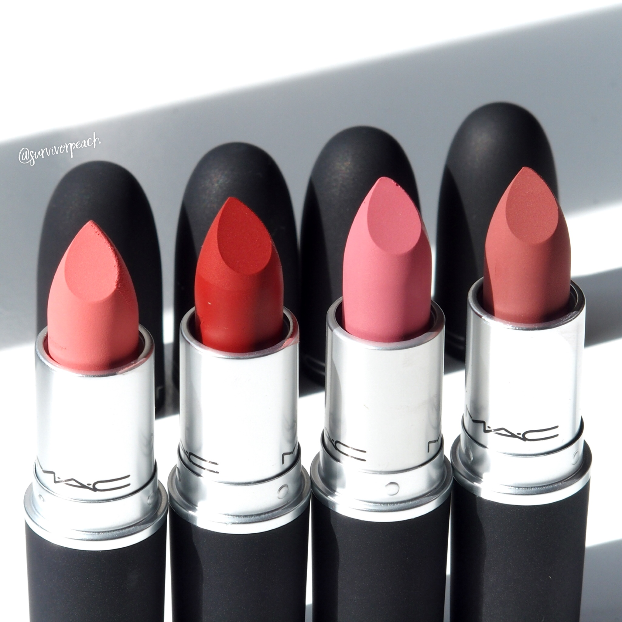 Mac Powder KISS Lipsticks - Scattered Petals, Devoted to Chlli, Sultry Move, Sultriness