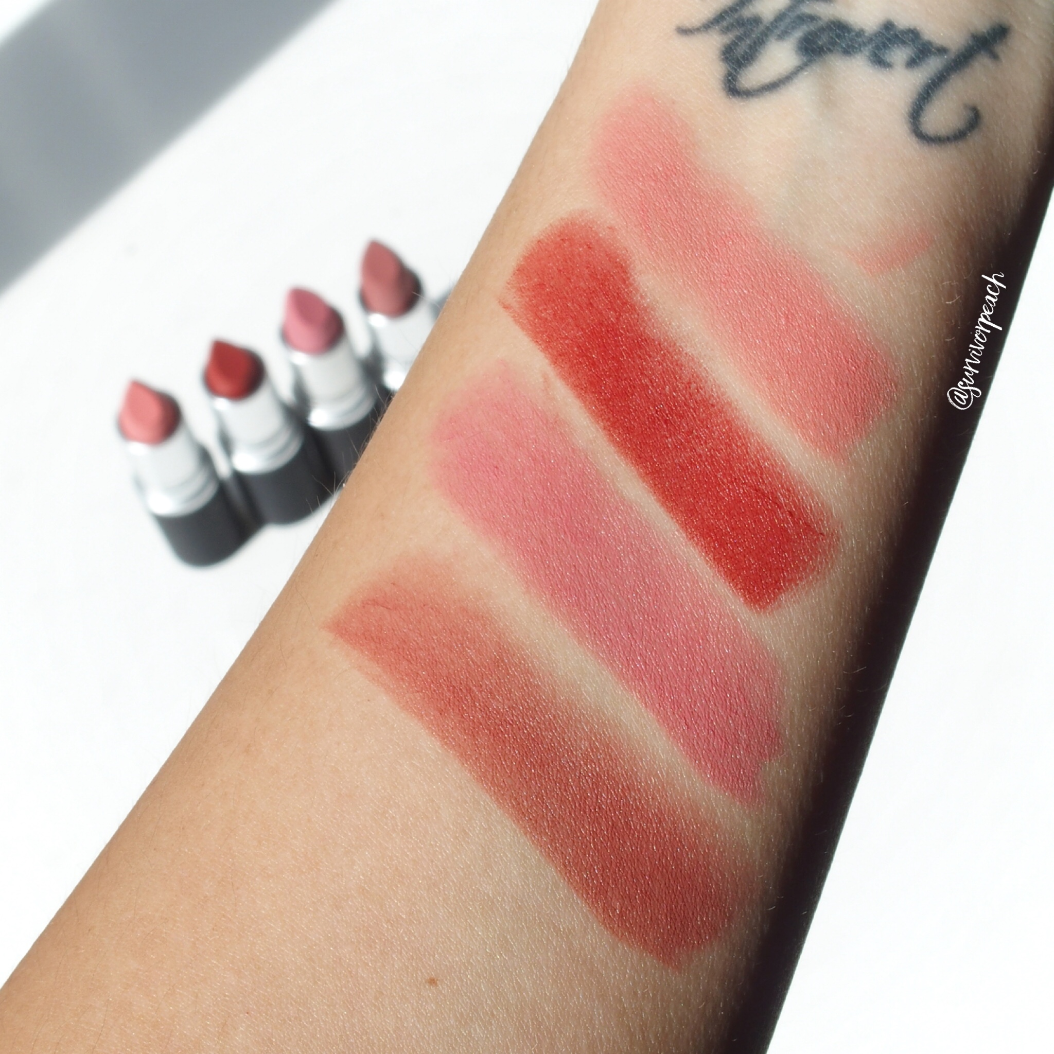 Mac Powder KISS Lipsticks swatches - Scattered Petals, Devoted to Chlli, Sultry Move, Sultriness