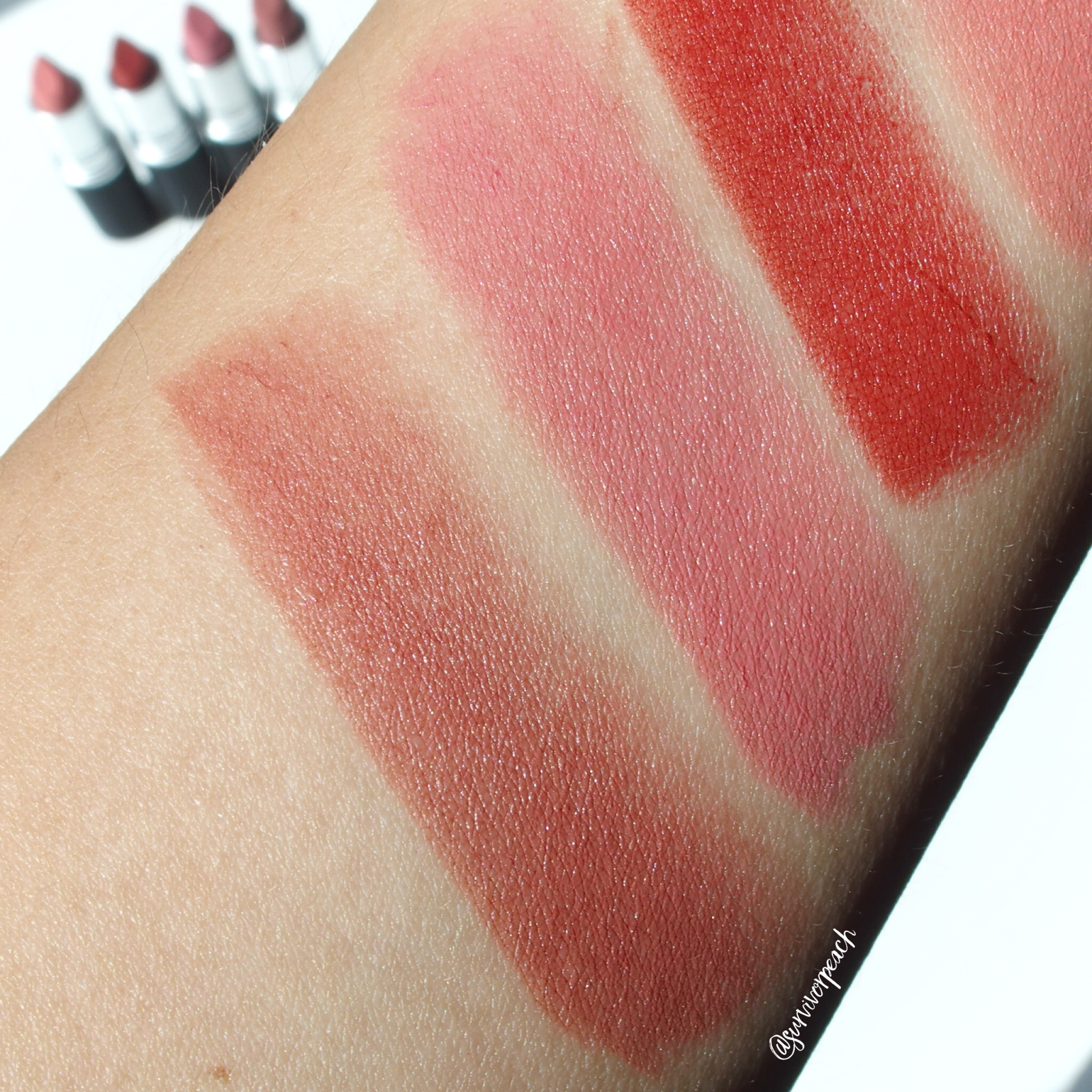 Mac Powder KISS Lipsticks swatches - Sultry Move, Sultriness