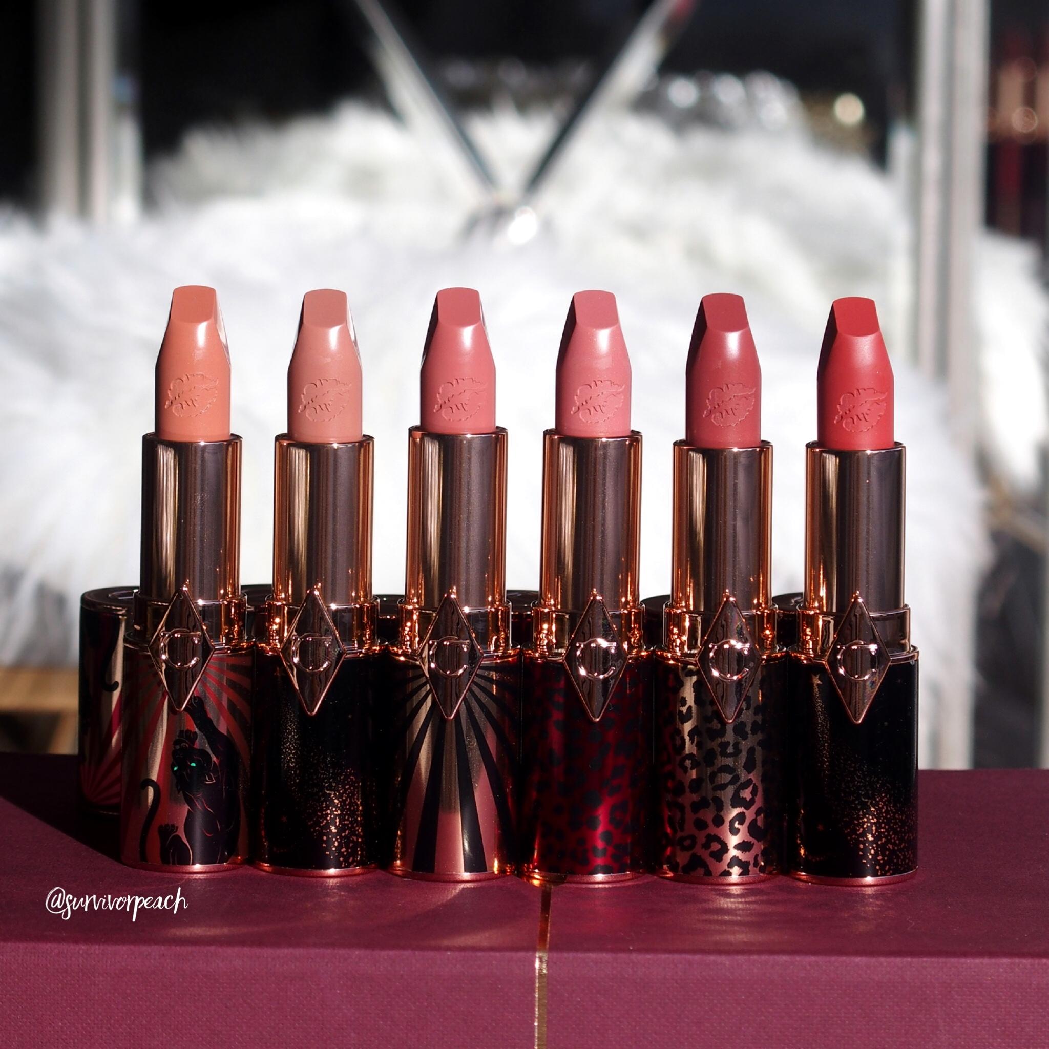 Charlotte Tilbury Hot Lips 2 Refillable - Angel Alessandra, JK Magic, In Love With Olivia, Dancefloor Princess, Carina's Star, and Glowing Jen