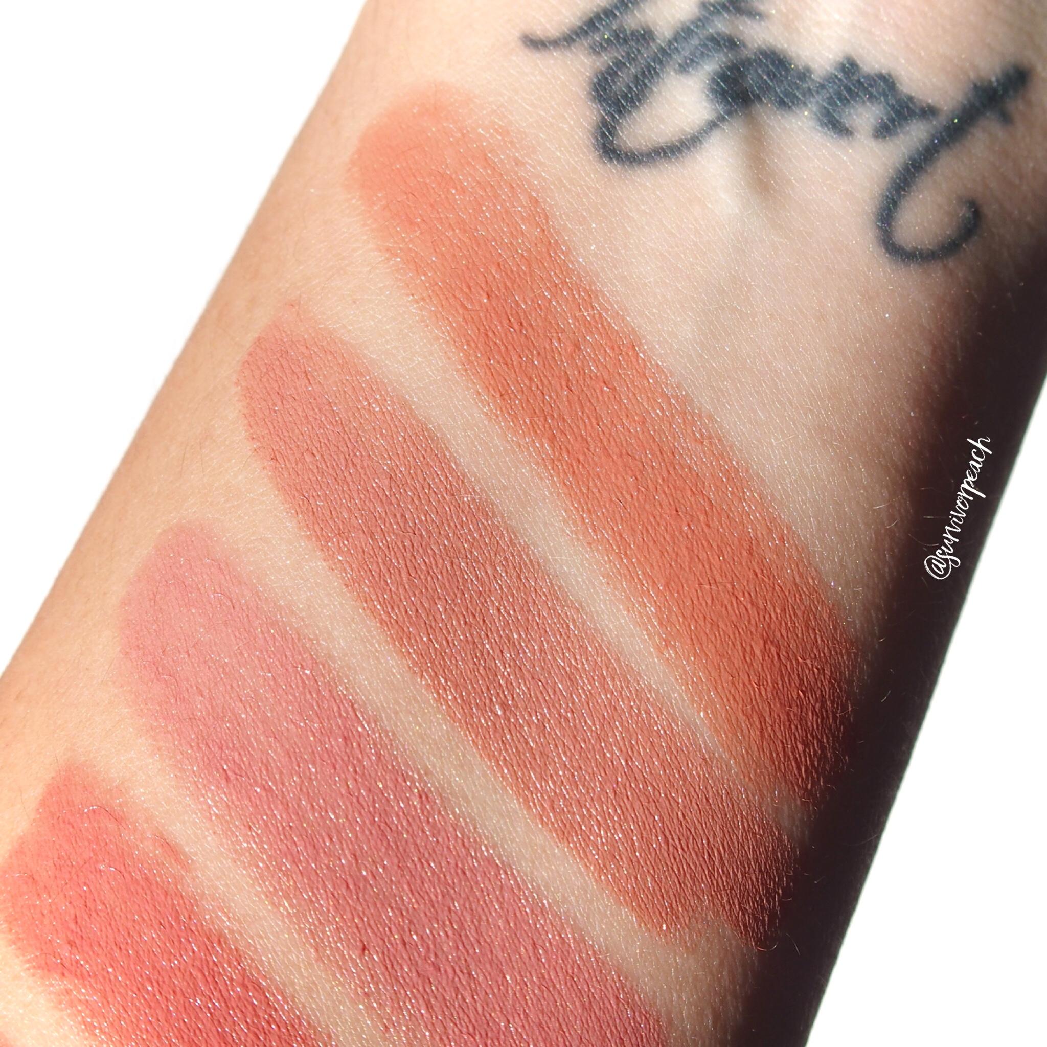 Swatches of the Charlotte Tilbury Hot Lips 2 Refillable - Angel Alessandra, JK Magic, Dancefloor Princess