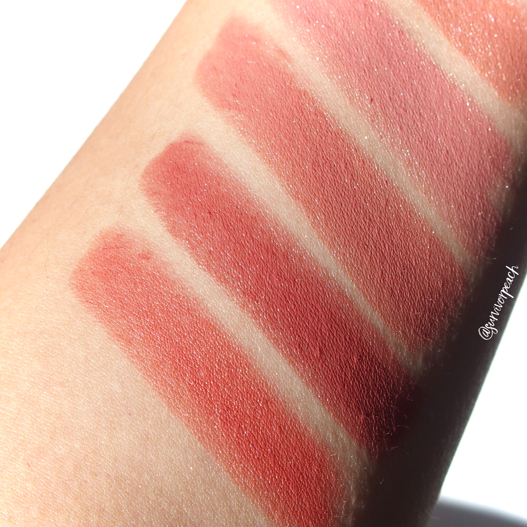 Swatches of the Charlotte Tilbury Hot Lips 2 Refillable - Dancefloor Princess, In Love With Olivia, Glowing Jen, Carina's Star