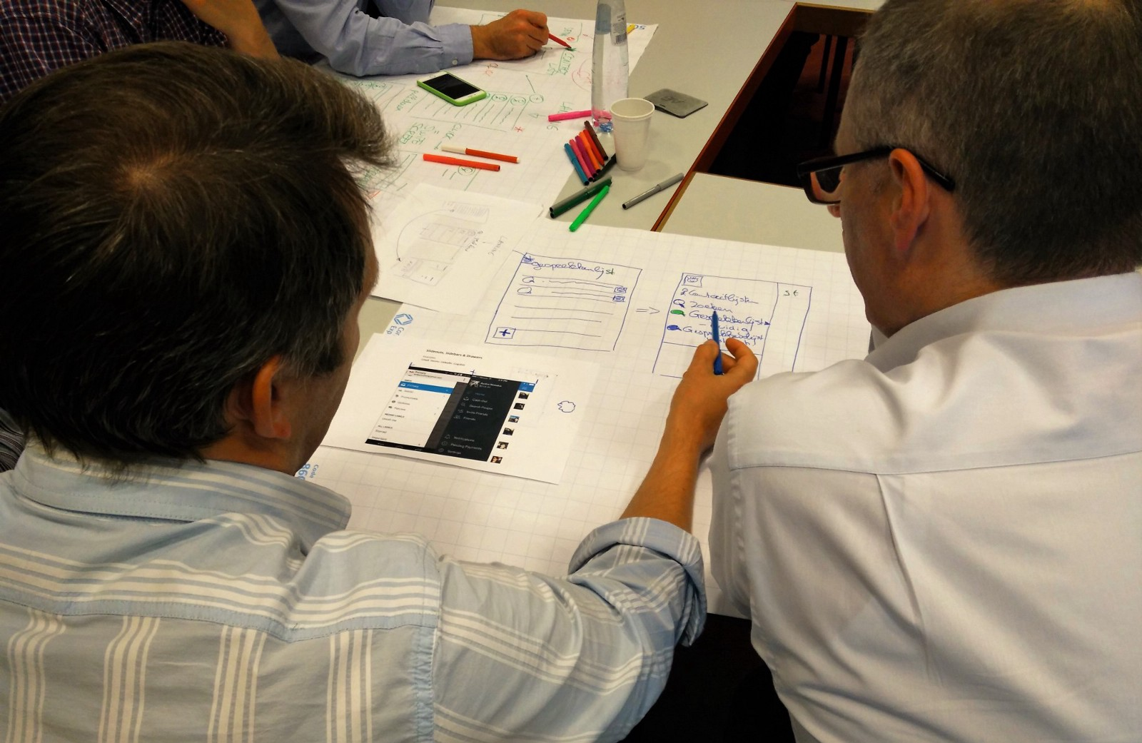 Workshop participants copying patterns using a shortlist of core features.