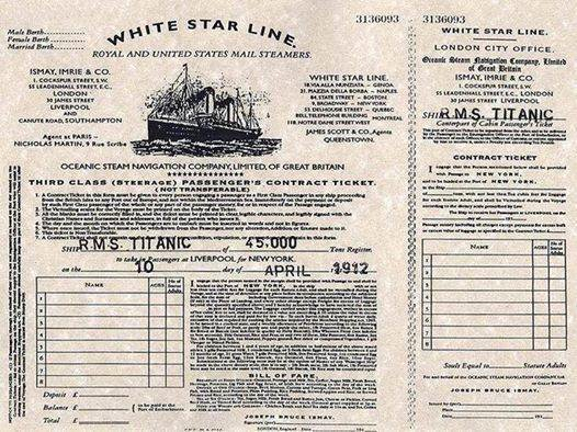 Ticket for the Titanic, 1912