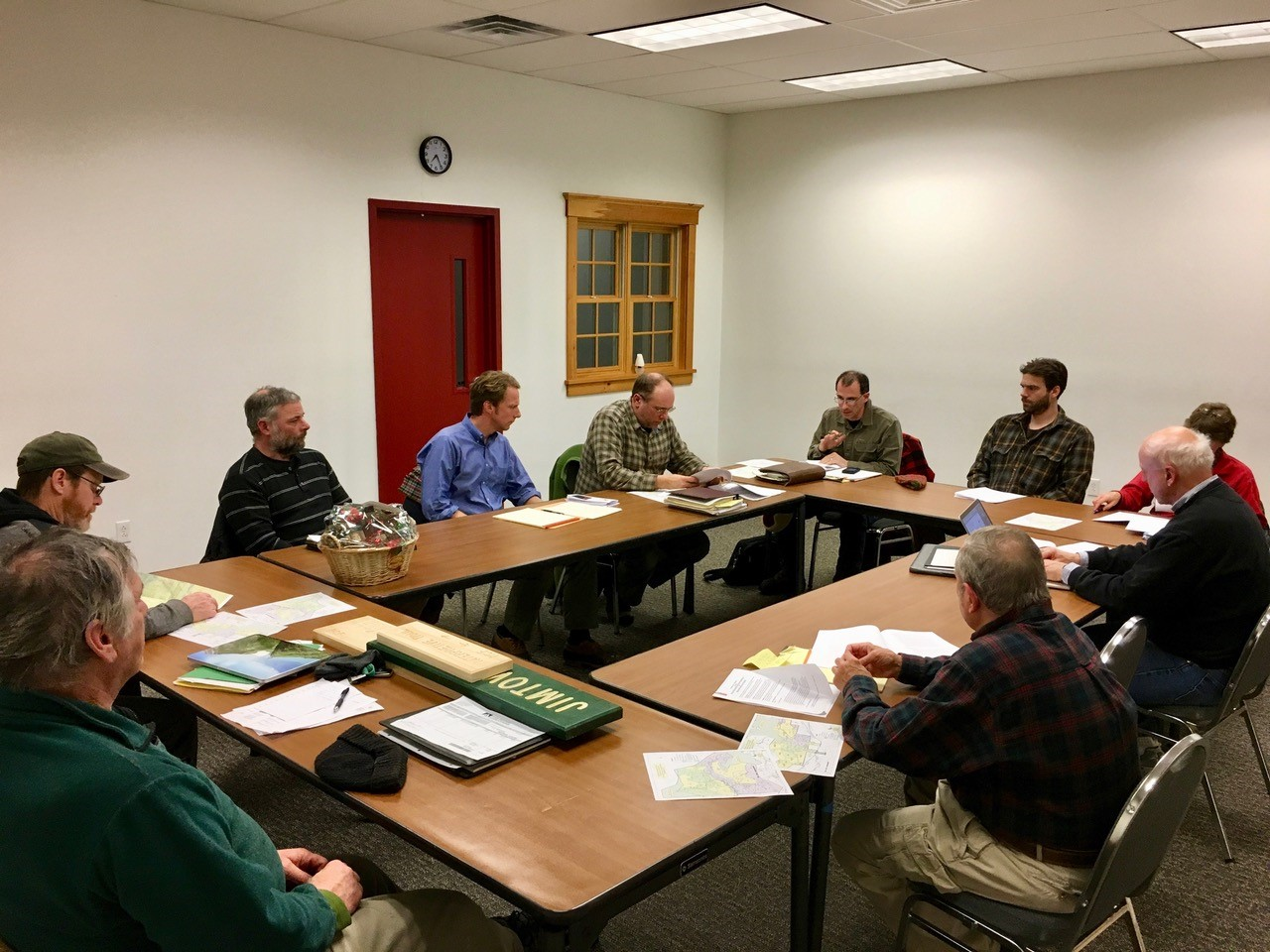 GBA Board members steve dupuis and tyler ray speak with the randolph community forest's forestry commmission (january, 2017).