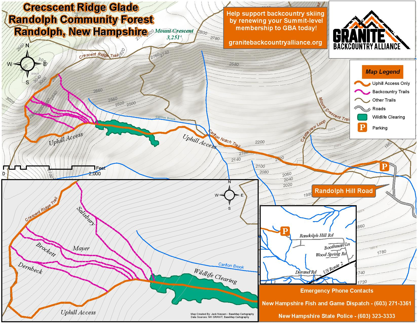 Crescent ridge glade map - granite backcountry alliance