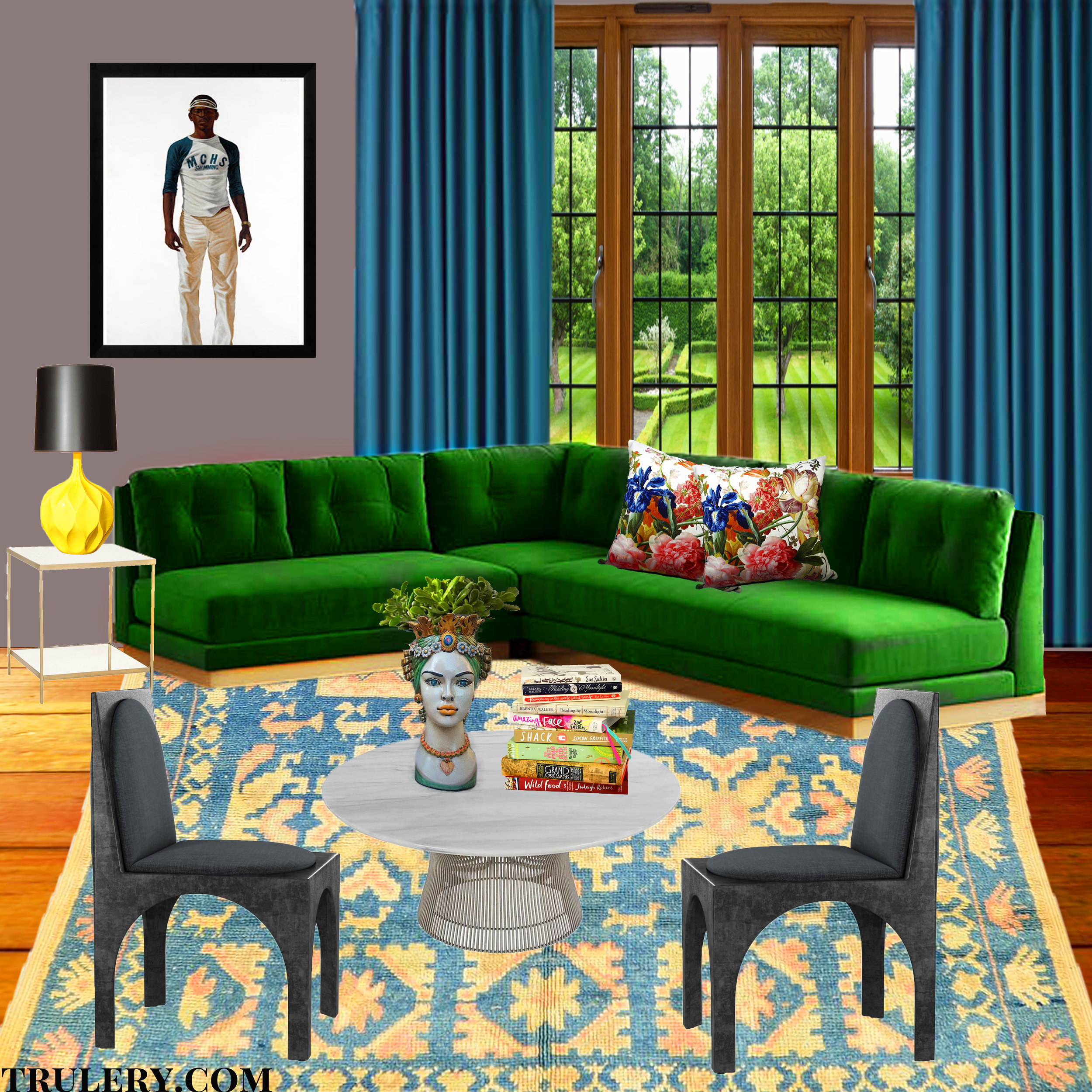 Pair green with blues and yellows for a more calming effect.