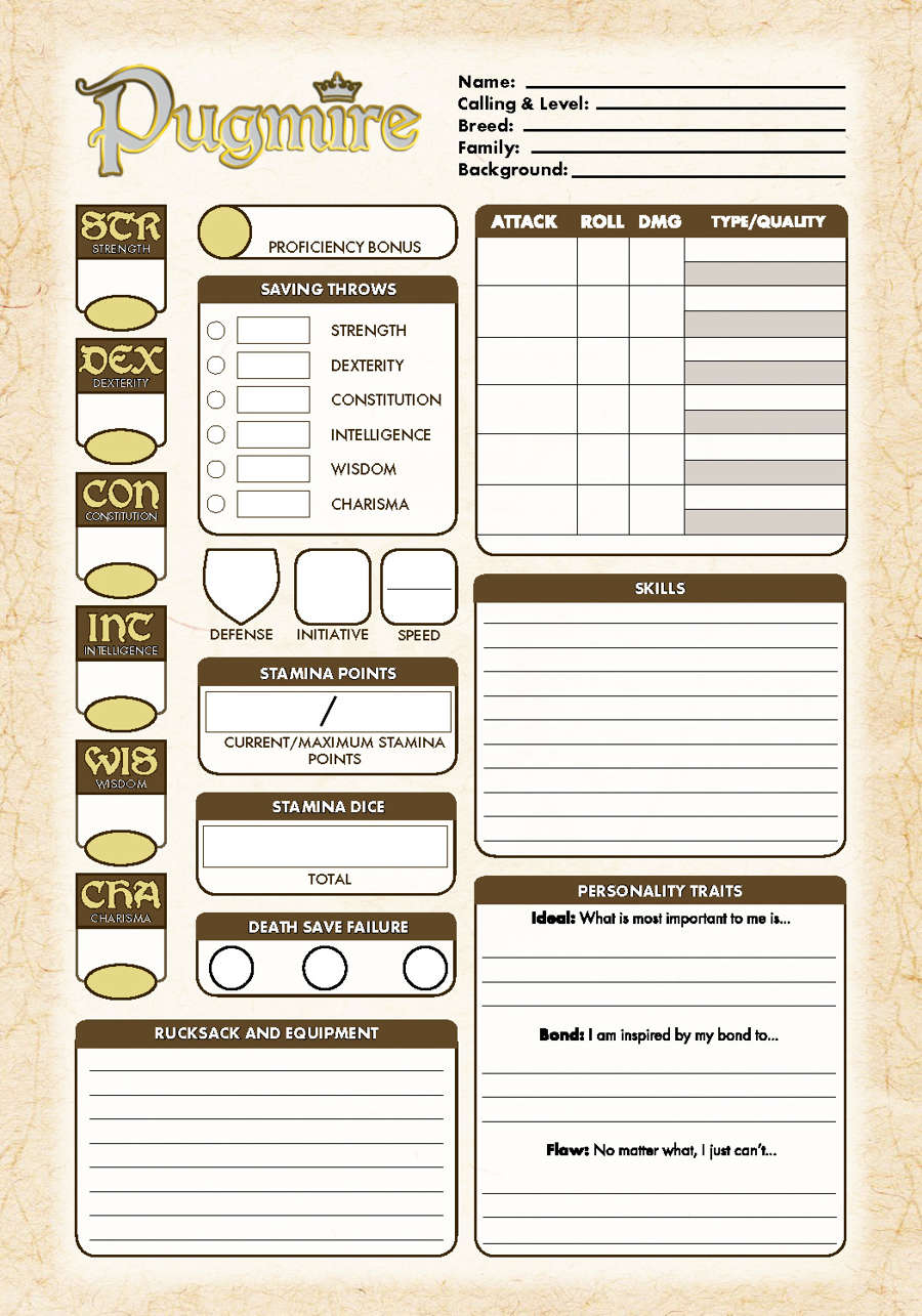 Get a free interactive character sheet for your  Pugmire  chronicle!