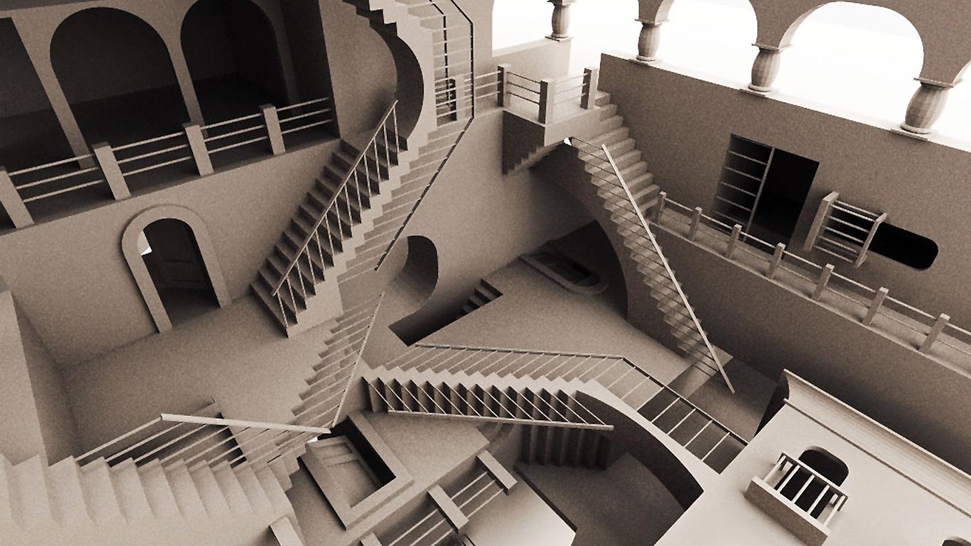 Como en las paradojas de  M.C. Escher , piensa en situaciones imposibles para cambiar de perspectiva