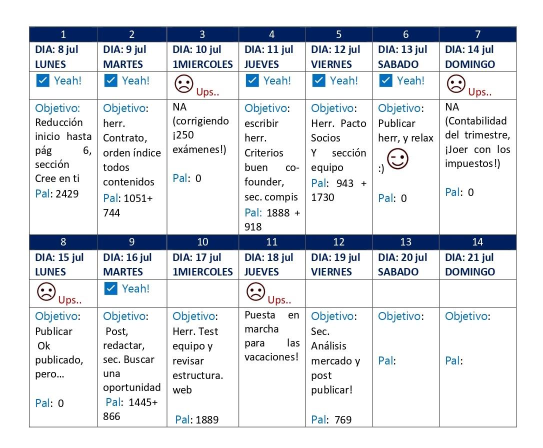 mi calendario de escritura