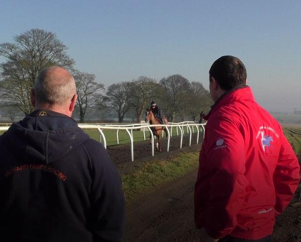 Fahey and Brian at gallops.JPG