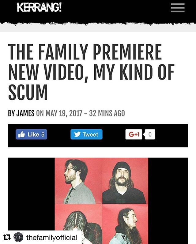 @thefamilyofficial premiering on @kerrangmagazine_ - EP out today, so much fun making this with these guys