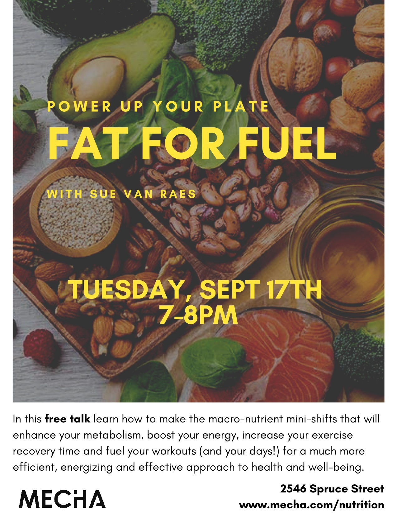 In the second talk, Sue will dive deeper into the macronutrient, fat, dispelling common myths about fat and introducing a healthy approach to fat for optimal health.