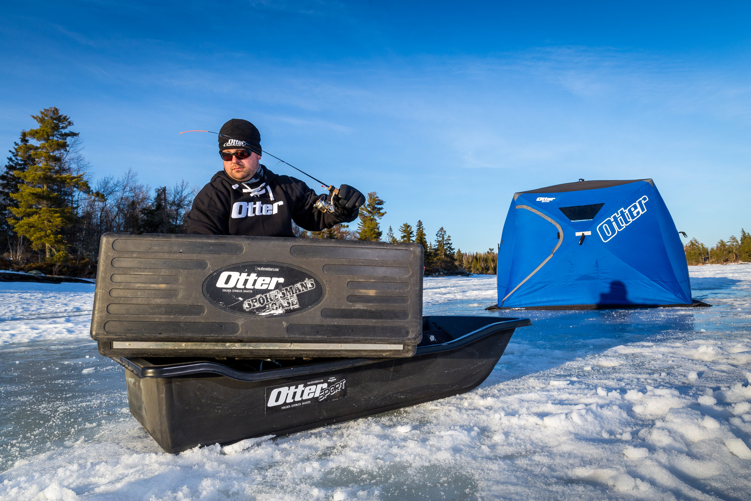Photo Credit - Ben Larson - In-Depth Media Productions  Featured:   Otter Sport Sled    Otter Sportsmans Case    Otter XTH Lodge Hub