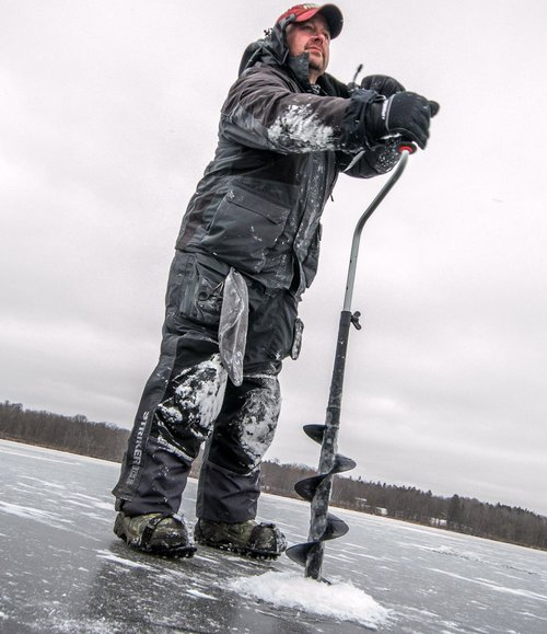 Featured-   Striker Ice Floating Predator Bibs  and  Jacket    Strikemaster Lazer Synthetic Hand Auger