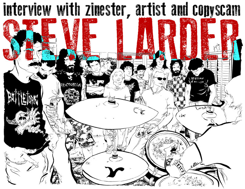 SILVER SPROCKET Interview with Steve Larder      Steve Larder has been with  As You Were  since  the very first issue , when his artwork appeared on the cover. Since then, we've come to love and expect his intricate, and dare we say beautiful, illustration work. In addition to his comic contributions, he also creates his own zine,  Rum Lad .    We were able to steal some of his time and get the scoop on his relationship to Dropdead,  Calvin and Hobbes , and his city of Nottingham. Keep reading to find out more.    Interview by  Natalye  for  Silver Sprocket      How does someone like you end up being a contributor to  As You Were ?   Like many other contributors to  As You Were , I received an email out of the blue from  Mitch Clem . I've always been an avid follower and fan ofMitch's artwork and comics, so to be asked to draw the cover of the first issue was a real honor. Not only that, but I got to share pages with abunch of other punk artists I admired in the first place, as well discover some whose work was completely new to me. I'm kinda proud to bea part of it.   Can you give us some insight on your artistic process? What inspires you? How do you decide on B/W or color? Is there anyoneyou'd attribute your artistic development to? How did you get into making art in the first place?   I think a lot of artists have a similar story of not really remembering a specific moment when they decided that's what they wanted to do; theyjust always have. I was lucky to have an encouraging family who noticed I was big into drawing. For instance, my grandmother would tear upcereal boxes for the blank inside cardboard in an effort to find me something else to doodle on when I ran out of paper.  I enjoyed art at school,then progressed into college doing Art & Design. However, I found it hard to develop anything I was particularly proud of due to the vagueness ofwhat was expected of me. I know that some people can find that kind of freedom liberating, but it had the opposite eff