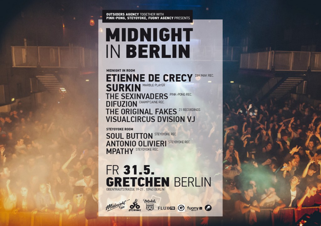 SLOW TRAVEL BERLIN   Midnight in Berlin, Gretchen, 11:30pm    Midnight in. is the first project of the newly founded Outsiders Agency, a group promoting parties and concerts throughout Europe with the goal of creating a musical network.   The emphasis, however, is not just on the music, but also on mapping projections, a visual display that will be present at each show. Thus far, Midnight in. has happened in Toulouse, Florence, Turin, and Marseille, with Berlin next on the list.   For Midnight in Berlin, the organizers have chosen a mix of bigger names, including Etienne De Crécy and Surkin, along with newer, homegrown acts, for a spectacle of electronic music. With two dance floors going all night, and a mixture of music ranging from electro to indie to deep house, there is guaranteed to be something for everyone.   Natalye Childress       Gretchen , Obentrautstraße 19-21, 10963, Berlin; Tel: 0 30 25 92 27 02; U: Mehringdamm; admission €12.