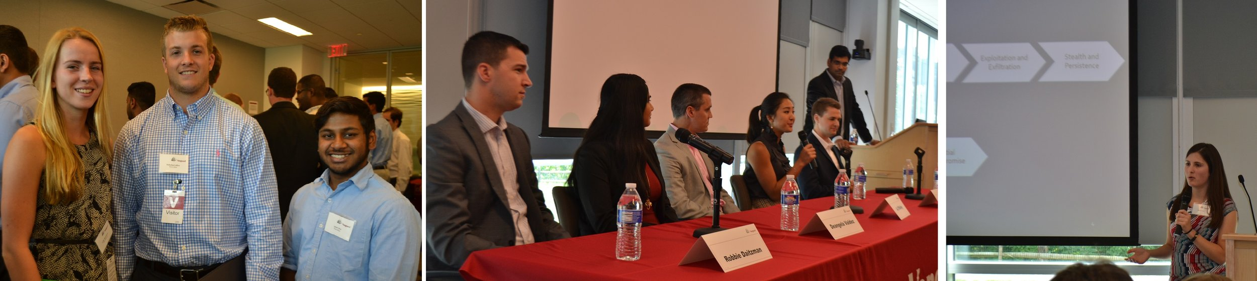 L-R: Student attendees, panel of recently hired team members, and cybersecurity presentation