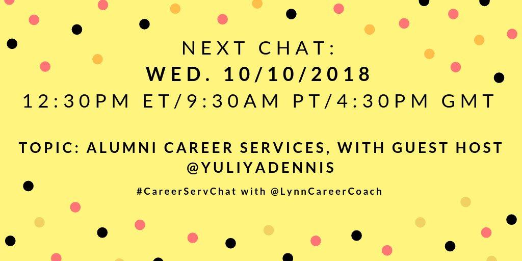 The next chat is set for Wed. 10/10/18 at 12:30 pm ET/9:30 am PT/4:30 pm GMT.