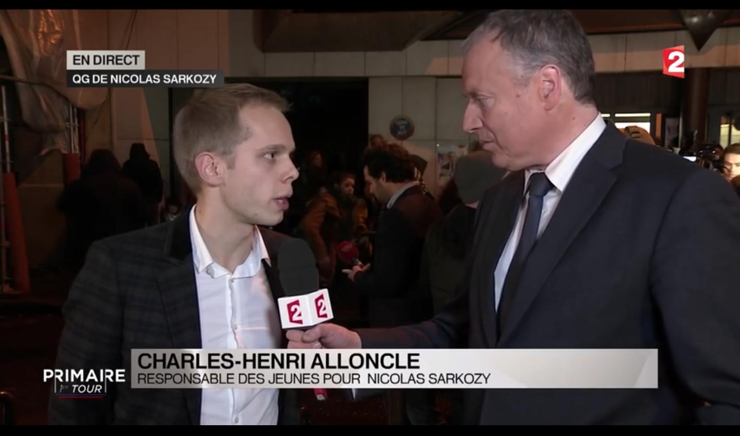 Charles-Henri Alloncle sur France 2, le soir du premier tour de la primaire de la droite et du centre.(Capture d'écran)