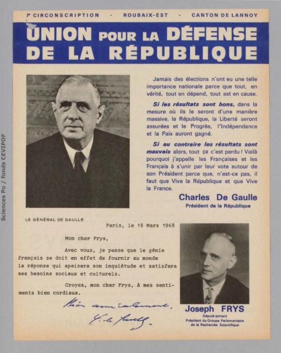 Législatives 1968 (Nord, 7e circonscription): profession de foi du 1er tour