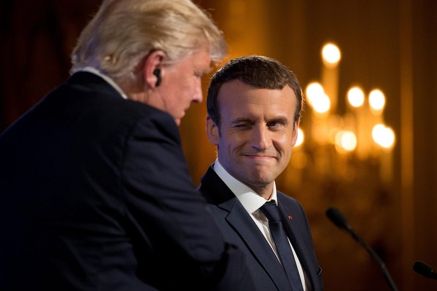 Macron winks at Trump.
