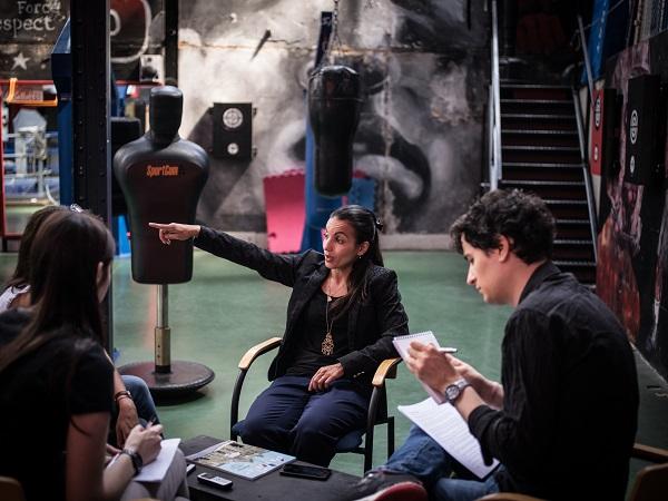 Sarah Ourahmoune, au Boxing Beats d'Aubervilliers (Crédits photo : Vincent Capman pour  Émile Magazine )