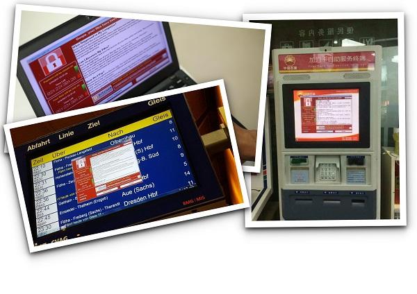Le logiciel de rançon « WannaCrypt » s'est propagé en mai 2017.Une cyberattaque mondiale qui a affecté de nombreux réseaux informatiques dans plus de 150 pays. En haut, à gauche: un ordinateur sur lequel s'affiche le compte à rebours avant l'effacement des données en cas de non-paiement de la rançon. En bas, à gauche, un terminal d'aéroport affecté en Allemagne.Àdroite, un distributeur automatique infecté en Chine.