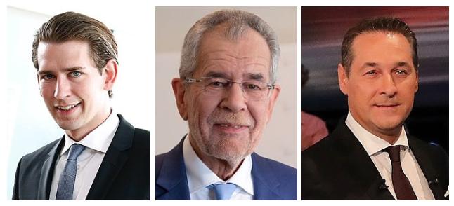 De gauche à droite: Sebastian Kurz, chancelier ; Alexander Van der Bellen, président ;et Heinz-Christian Strache, vice-chancelier. Crédits photos: Wikimedia Commons