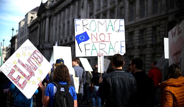 The pro-EU march from Hyde Park to Westminster in London on March 25, 2017, to mark 60 years since the EU's founding agreement, the Treaty of Rome. (Crédit photo: CC/Ilovetheeu)