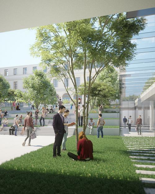 Futur Jardin des Savoirs, espace où le végétal dialogue avec le minéral   Illustration : Sogelym Dixence / Wilmotte & Associés Architectes / Moreau Kusunoki Architectes
