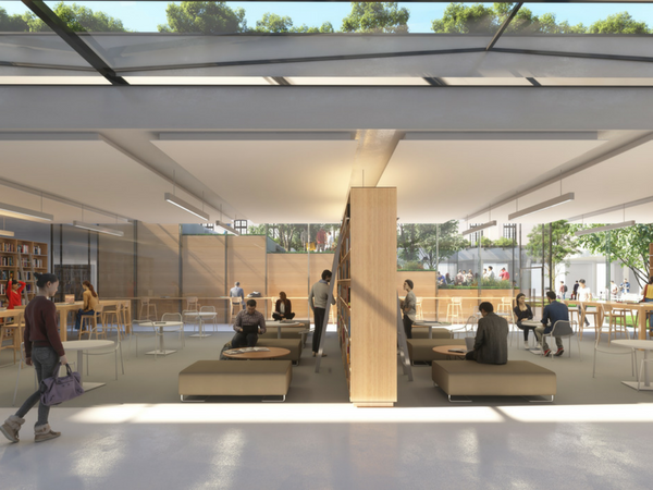 La bibliothèque, un espace de recherche et de travail qui sera entièrement modulable   Illustration :Sogelym Dixence/ Wilmotte & Associés / Moreau Kusunoki Architectes